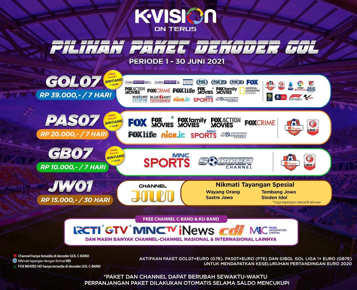 Paket dan Dekoder K-Vision GOL