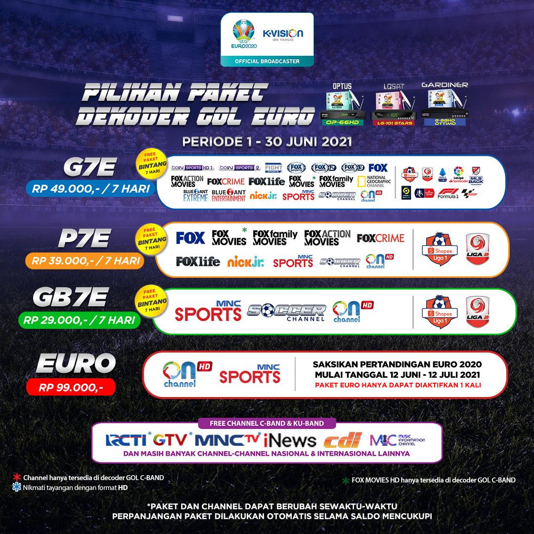 Paket Euro dan Dekoder K-Vision GOL