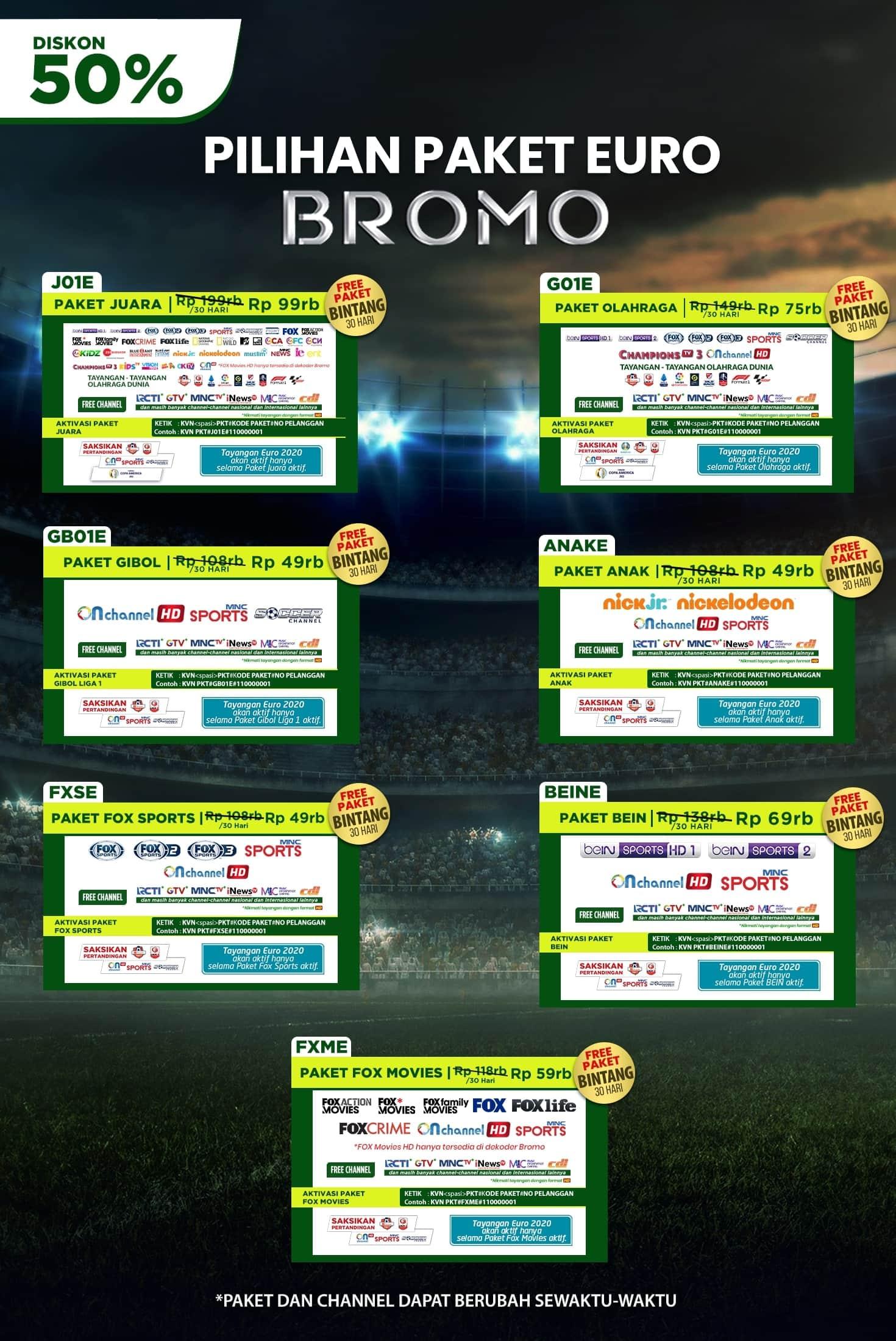 Paket Euro dan Dekoder K-Vision Bromo